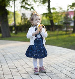 Baby with banana Royalty Free Stock Image