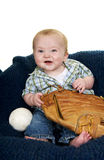 Baby for Baseball. Cute baby boy with a baseball and glove Stock Photo