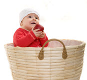 Baby in a basket. Royalty Free Stock Images