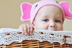 Baby in the basket Stock Photo
