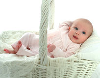 Baby in a Basket Stock Photos