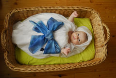 Baby in basket Royalty Free Stock Images