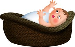 Baby in a Basket Royalty Free Stock Photography