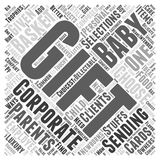 Baby basket corporate gift word cloud concept  background. Text Stock Images