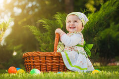 Baby in basket in the green park stock photos