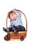 Baby in a basket isolated on a white background Royalty Free Stock Photos
