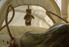 Baby Basket with Teddy Bear Royalty Free Stock Image