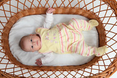 Baby in bassinet Royalty Free Stock Image