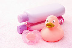 Baby bath. Accessories for baby bath on pink towel - body care stock photos