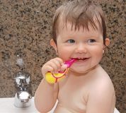 Baby in bath. Portrait of baby in bath Stock Photo