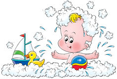 Baby bath. Illustration for children. A series Baby Royalty Free Stock Images
