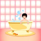 Baby bath. Child making bath and amusing with bubbles vector illustration