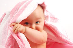 Baby after bath #34 royalty free stock photo