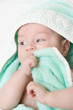 Baby after bath. Portrait of the child after bath stock photography