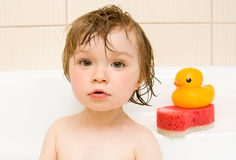 Baby in bath Royalty Free Stock Photo