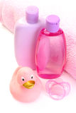 Baby bath. Accessories for baby bath isolated on white - body care royalty free stock image