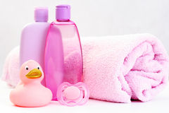 Baby bath. Accessories for baby bath isolated on white - body care royalty free stock photos