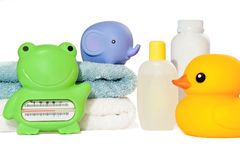 Baby bath accessories isolated Royalty Free Stock Photo