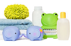 Baby bath accessories isolated stock image