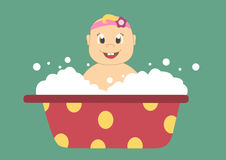 baby in a bath with bubbles,Vector illustrations Royalty Free Stock Photo