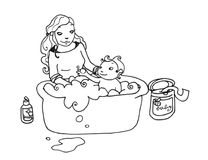 Baby bath bw. Black and white illustration of a bath of a baby with his mother Royalty Free Stock Photo