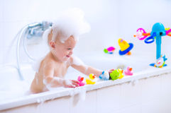 Baby in bath Stock Photos