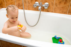 Baby bath - fun Stock Photography