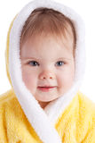 Baby in bath gown Stock Image