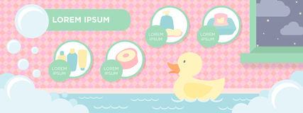 Baby Bath Items Banner. Pastel banner ideal for baby bath items and products websites Royalty Free Stock Image