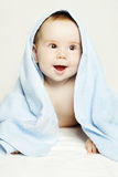 Baby after bath, parental care Stock Photo