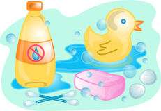 Baby bath set illustration Stock Photography