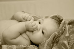 Baby after bath in towel. Royalty Free Stock Photos