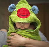 Baby after bath in towel funny Royalty Free Stock Image