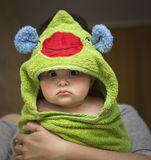 Baby after bath in towel funny Royalty Free Stock Photography