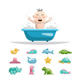 Baby bath toys. The child playing with the bath toys for bathing Royalty Free Stock Image