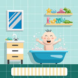 Baby bath toys. The interior of the bathroom and happy child who bathes with his toys for a swim, a flat vector illustration in cartoon style Royalty Free Stock Photos
