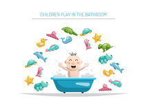 Baby bath toys. Joyful child who bathes in a bath with foam and around him is a set of animals, rubber bath toys in the bathroom Stock Photography