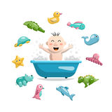 Baby bath toys. Joyful child who bathes in a bath with foam and around him is a set of animals, rubber bath toys in the bathroom Royalty Free Stock Images