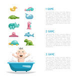 Baby bath toys. Page layout in which is painted a variety of games for kids while swimming Royalty Free Stock Photography