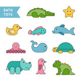 Baby bath toys. Set of baby bath toys in the bathroom drawn in cartoon flat style Royalty Free Stock Image