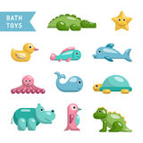 Baby bath toys. A set of baby bath toys depicting animals that come into contact with water or live input, All the animals are isolated and painted in flat Stock Photography