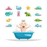 Baby bath toys. The set of toys on a white background isolated flat in which the child can play while bathing Stock Photo
