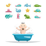 Baby bath toys. Vector set of toys for children in bath Stock Photos