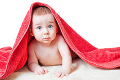 Baby After Bath Under Red Towel on Tummy. Caucasian baby boy laying naked on tummy covered by soft fluffy red towel Stock Photo