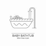 Baby bath vector line icon. Toddler bathtub sign. Newborn washing. With shower rain and bubbles stock illustration