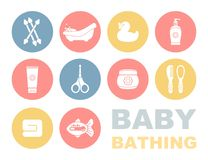 Baby bathing and care icons Stock Images