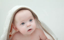 Baby in bathrobe. Portrait of a baby wearing a white bathrobe Royalty Free Stock Images