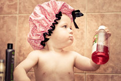 Baby in bathroom Royalty Free Stock Photo