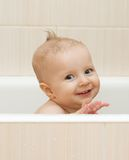 Baby in the bathroom Royalty Free Stock Images