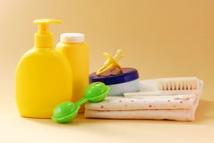Baby bathroom accessories and toys Stock Photo